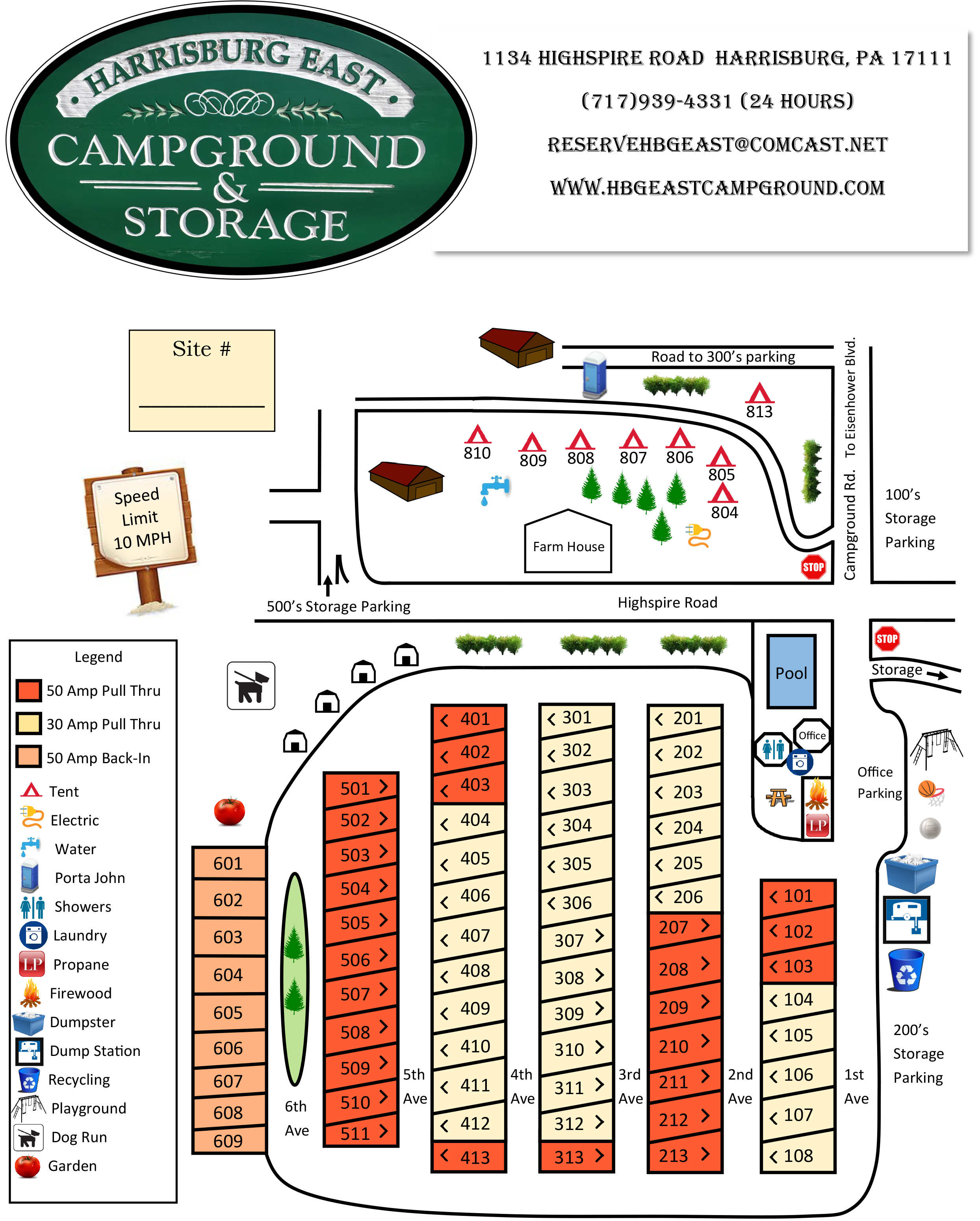 Harrisburg East Campground Park Map